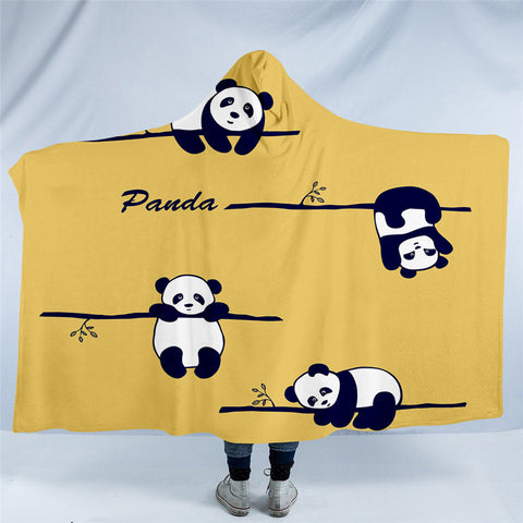 Pandas Hanging Off Branches Hooded Blanket