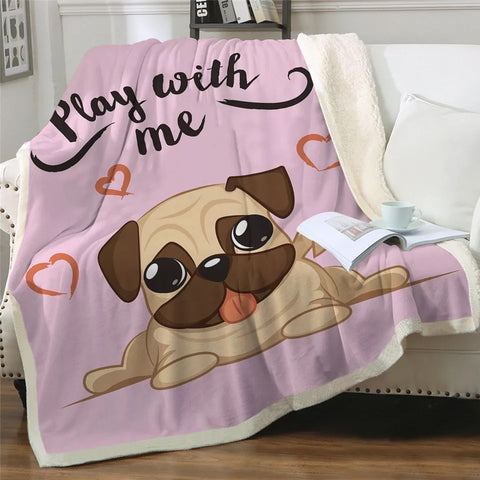 Play With Me Pug Throw Rug