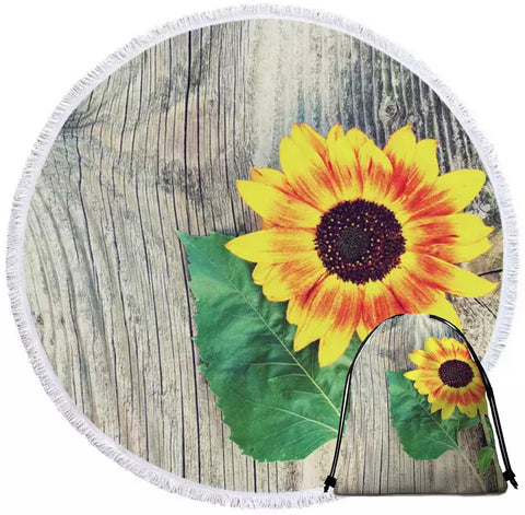 Sun Flower On Wood Round Towel
