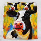 Acrylic Painting Cow Bedding Set