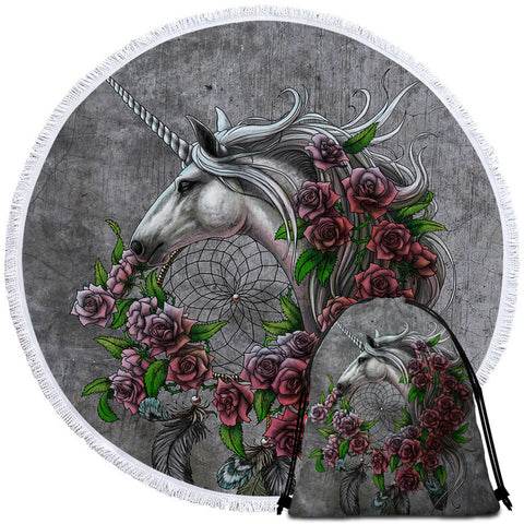 Unicorn Dreamcatcher By SunimaArt Round Towel