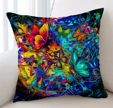 Bright Psychedelic Butterflies Cushion Cover