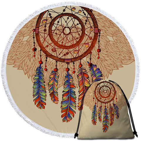 Sun Inspired Dreamcatcher Round Towel