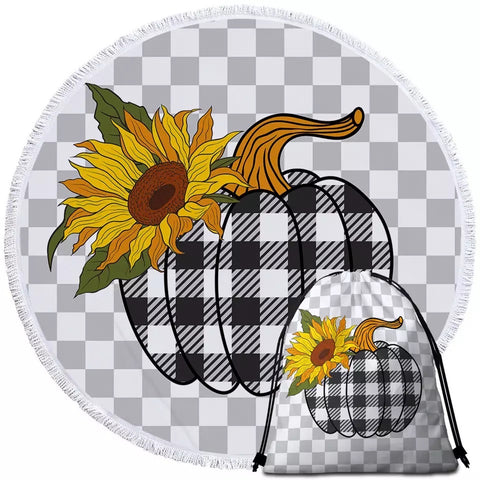 Pumpkin & Sunflower Round Towel
