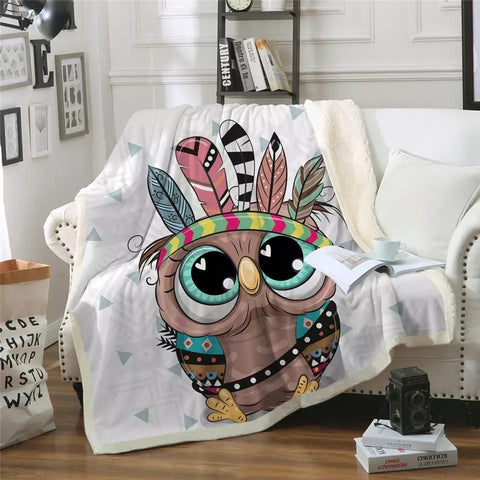 Cartoon Indian Owl Throw Rug