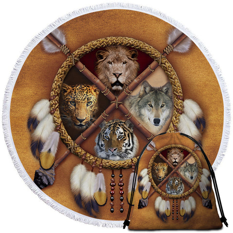 Wolf, Lion, Leopard & Tiger Dreamcatcher Round Towel