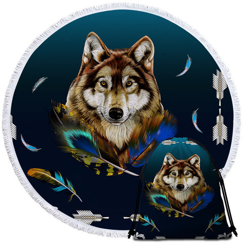 Royal Wolf Blue By Ismot Esha Round Towel