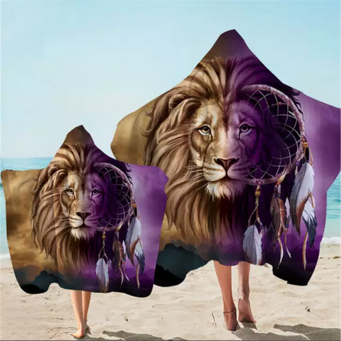Lion Infused Dreamcatcher Hooded Towel