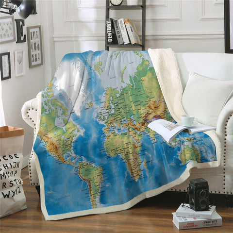 World Map Throw Rug