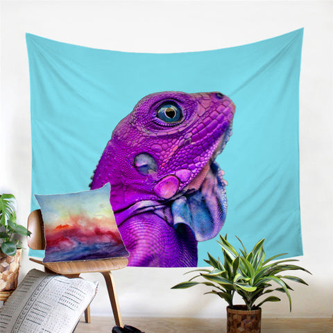 Purple Iguana Wall Tapestry