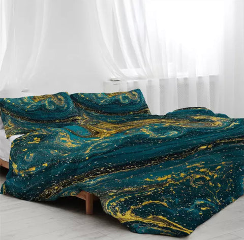 Dark Green & Gold Marble Bedding Set