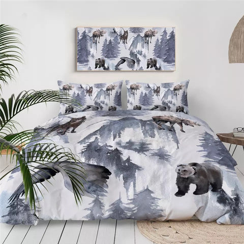 Alaska Bear, Moose, Wolf & Birds Bedding Set