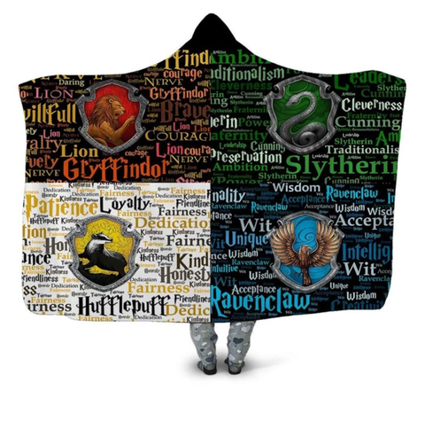 Hogwarts Four Houses Traits Hooded Blanket