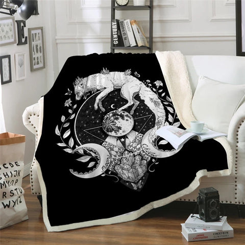 Moon Child Black By Pixie Cold Art Throw Rug