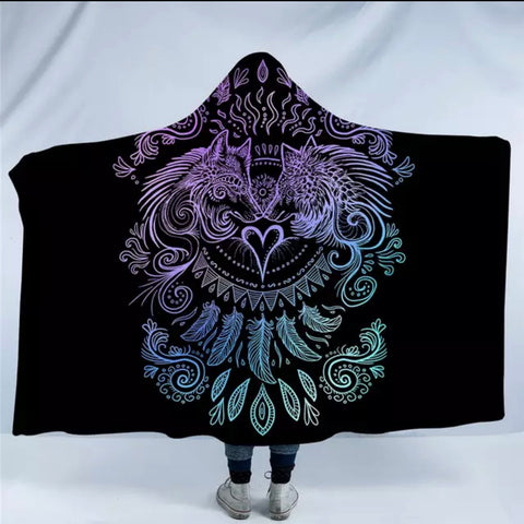 Wolves Heart (Black) By SunimaArt Hooded Blanket