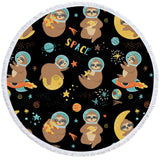 Sloths In Outer Space Round Towel