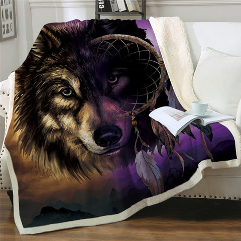 Wolf Infused Dreamcatcher Throw Rug