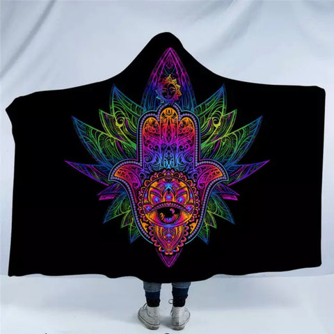 Rainbow Mandala Hamsa Hooded Blanket