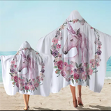Unicorn With Floral Wreath Hooded Towel