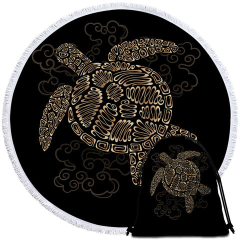 Golden Turtle Round Towel