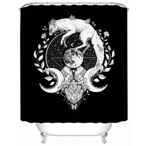 Moon Child (Black) By Pixie Cold Art Shower Curtain