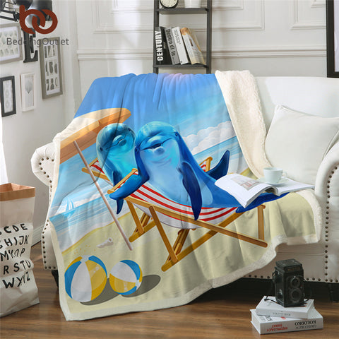 Vacationing Dolphins Throw Rug
