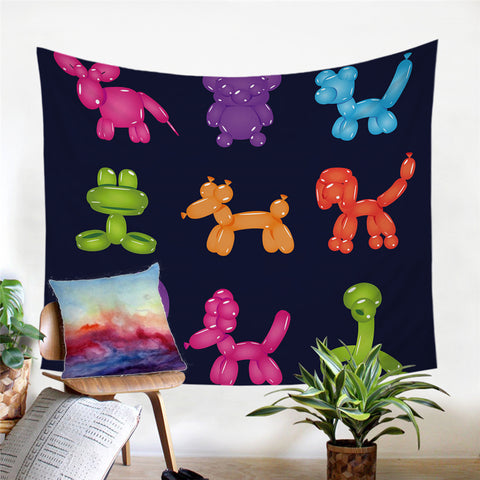 Balloon Dogs Wall Tapestry