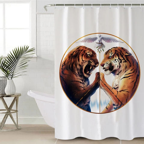 Peace by JoJoesArt (White) Shower Curtain