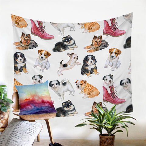 Various Puppies Wall Tapestry
