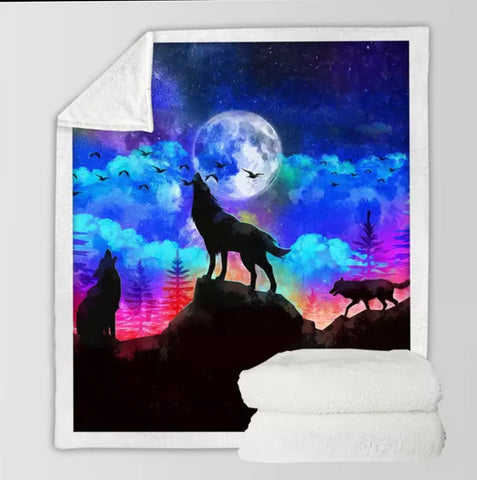 Three Wolves Howling At The Moon Throw Rug