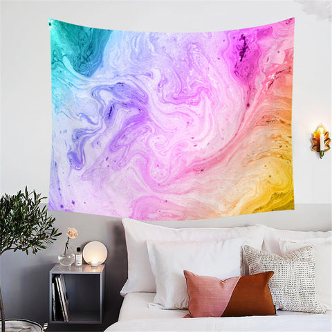 Green, Purple, Pink & Yellow Swirl Wall Tapestry