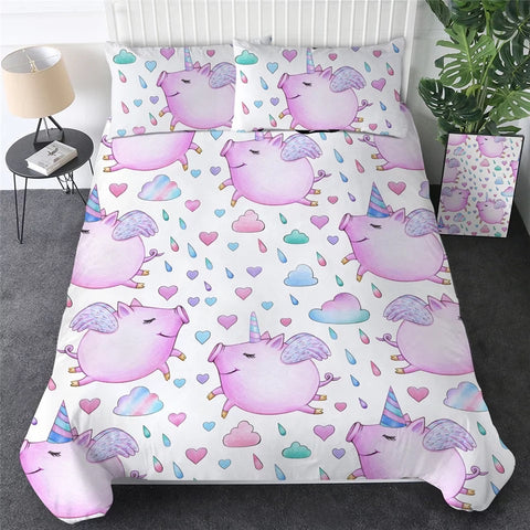Pink Flying Pigs Bedding Set