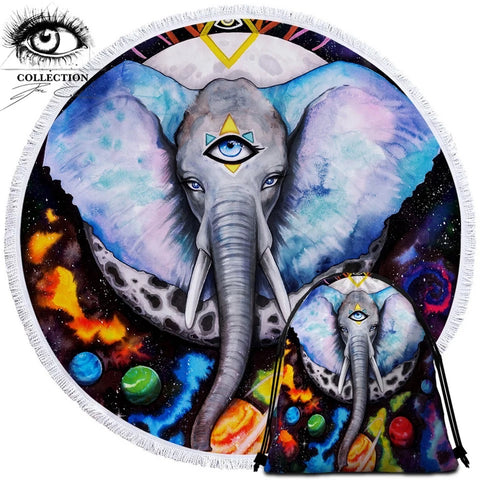 Alien Elefant By Pixie Cold Art Round Towel