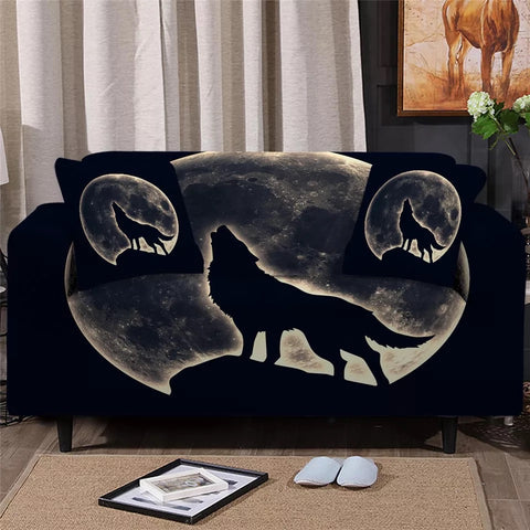 Wolf Howling At The Moon Sofa Cover