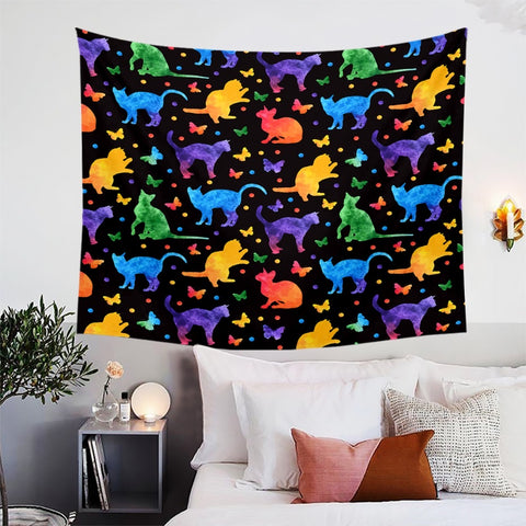 Neon Cats Playing With Butterflies Wall Tapestry