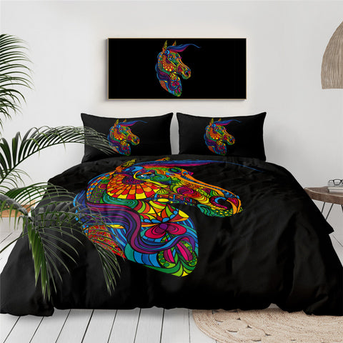 Rainbow Psychedelic Horse Bedding Set