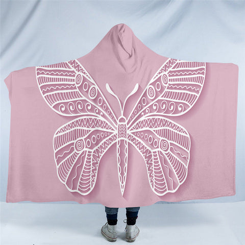 Pink Butterfly Hooded Blanket