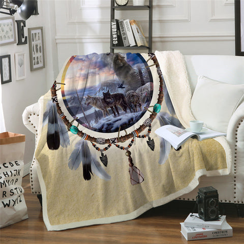 Picture Of Wolves In The Dreamcatcher Throw Rug