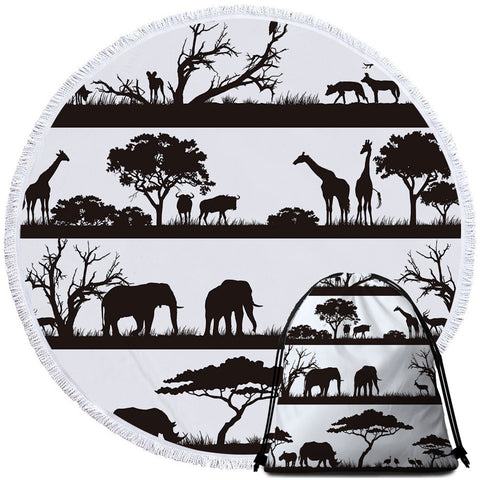 Black & White African Savanna Round Towel