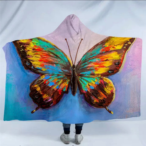 Artist Acrylic Butterfly Hooded Blanket