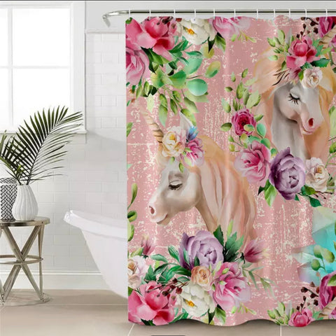 Floral Unicorns (Pink) Shower Curtain