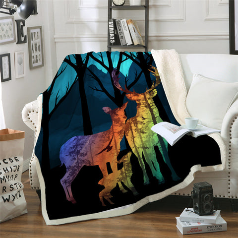 Rainbow Deer Throw Rug