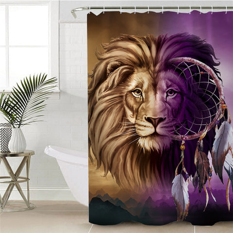 Lion Infused Dreamcatcher Shower Curtain