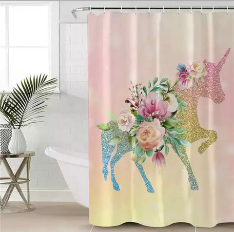 Floral Unicorn Shower Curtain
