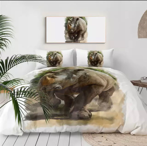 Watercolour Rhino Bedding Set
