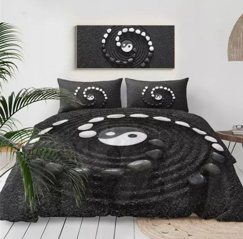 Black & White Stone Spiral Yin & Yang Bedding Set