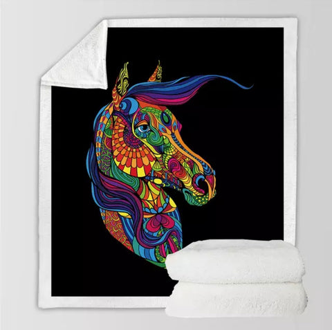 Rainbow Psychedelic Horse Throw Rug