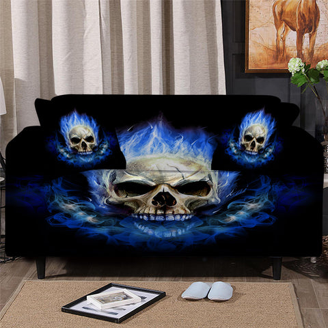 Blue Flame Skull Sofa Cover