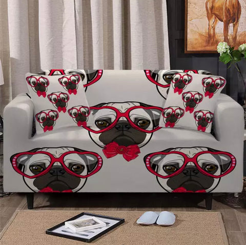 Love Heart Glasses On Pug Sofa Cover