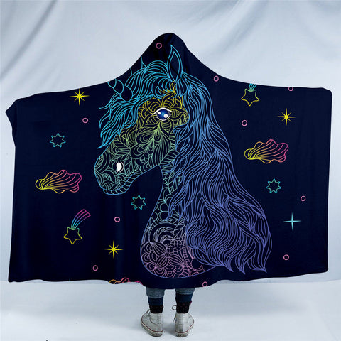 Scratch Drawing Unicorn Hooded Blanket